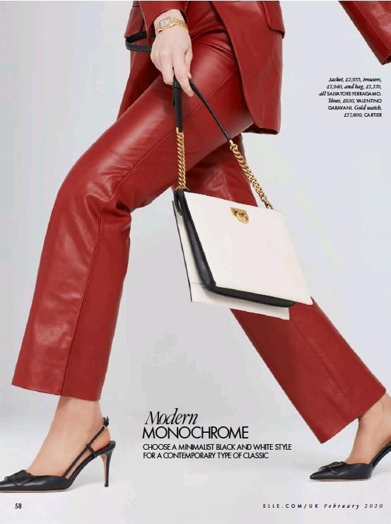 ??  ?? Jacket, £2,955, trousers, £1,940, and bag, £1,370, all SALVATORE FERRAGAMO. Shoes, £630, VALENTINO GARAVANI. Gold watch, £17,800, CARTIER