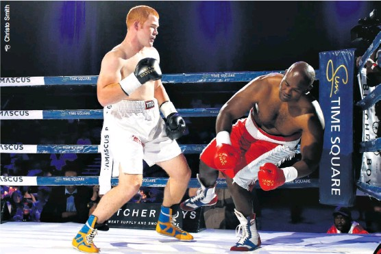 ??  ?? Joshua 'Red Beast' Pretorius delivered a left hook that knocked out fellow heavyweight Nhlakanipho Gwamanda in the first round