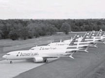 ?? AMERICAN AIRLINES/REUTERS ?? American Airlines is extending flight cancellations through Sept. 3 for Boeing's embattled 737 Max jets, seen at a facility in Tulsa.