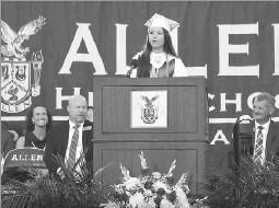 b4652b8f42 Anja Schlein Special Contributor. Valedictorian Samantha Cheng delivered  her speech during the Allen High School graduation ...
