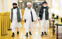 ?? Photo / AP ?? From left, Taliban officials Suhail Shaheen, Mawlawi Shahabuddin Dilawar and Mohammad Naim, arrive for a news conference in Moscow.