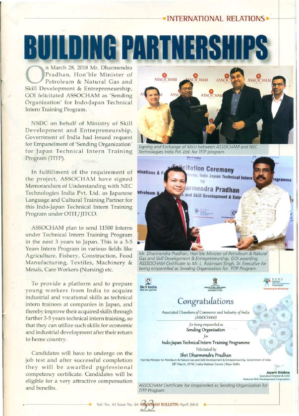 pressreader - assocham bulletin: 2018-04-28 - building partnerships