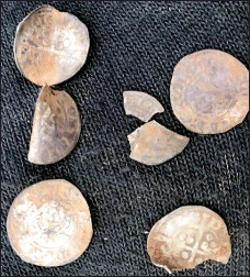 ??  ?? Un­earthed: Some of the hoard of me­dieval coins