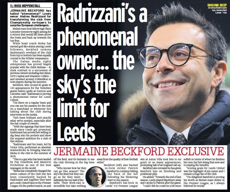 ??  ?? DIGGING DEEP Andrea Radrizzani has bankrolled Leeds ' rise