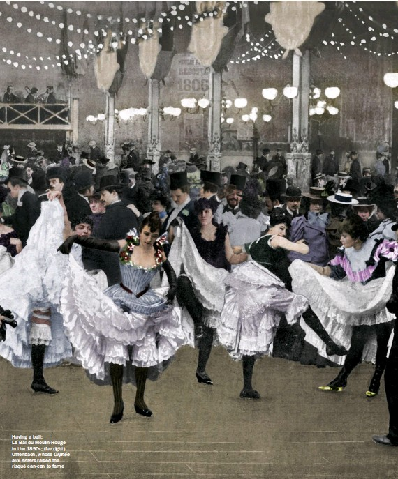 ??  ?? Having a ball: Le Bal du Moulin-rouge in the 1890s; (far right) Offenbach, whose Orphée aux enfers raised the risqué can-can to fame