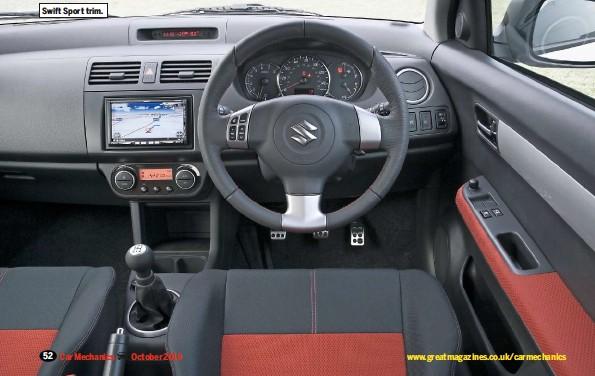 ??  ?? Swift Sport trim.