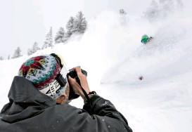??  ?? BOTTOM: As a young man from New York, Cohen had to move, really had to moo-oooove, to Alta, where he has since defined powder photography. Photo: John Shafer