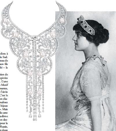 ??  ?? La grande-duchesse Marie Pavlovna de Russie, soeur du grandduc Dimitri, parée de ses fabuleuses émeraudes. Elle créa un atelier de broderie qui collabora avec la maison Chanel et dont les motifs ont inspiré certaines créations de la nouvelle collection de joaillerie.