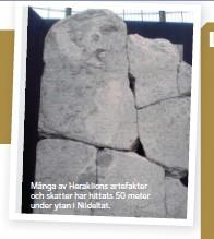 ??  ?? Många av Heraklions artefakter och skatter har hittats 50 meter under ytan i Nildeltat.