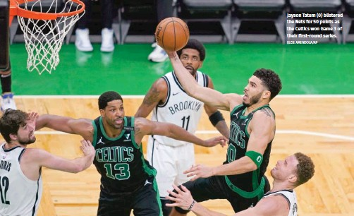 ?? ELISE AMENDOLA/AP ?? Jayson Tatum (0) blistered the Nets for 50 points as the Celtics won Game 3 of their first-round series.