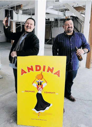 ?? MARK VAN MANEN /PNG ?? Nicolas, left, and Andres Amaya stand inside the soon-to-open Andina Brewing Company on Powell Street in Vancouver.
