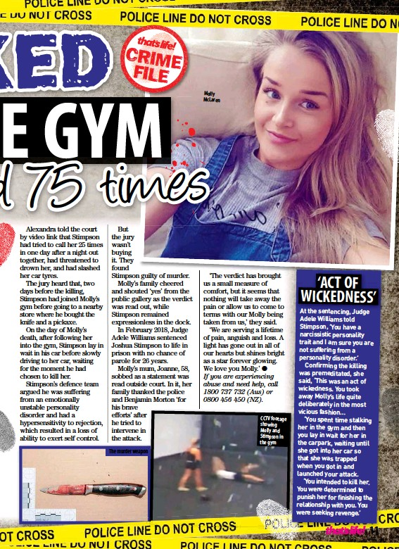 ??  ?? The murder weapon Molly McLaren CCTV footage showing Molly and Stimpson in the gym