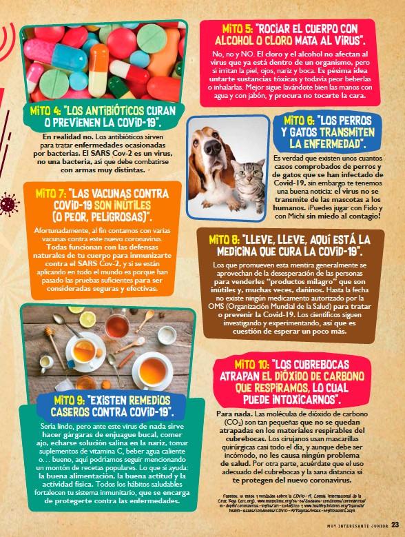 ??  ?? Fuentes: 10 mitos y verdades sobre la COVID-19, Comité Internacional de la Cruz Roja (icrc.org), www.mayoclinic.org/es-es/diseases-conditions/coronavirus/ in-depth/coronavirus-myths/art-20485720 y www.healthychildren.org/Spanish/ health-issues/conditions/COVID-19/Paginas/Mask-Mythbusters.aspx