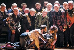 ?? PHOTOGRAPH: TRISTRAM KENTON/THE GUARDIAN ?? Liparit Avetisyan, foreground, 'brings real seductive poetry' to his Duke in Royal Opera's new Rigoletto