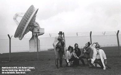??  ?? HAWKLORDS IN 1978, L-R: ROBERT CALVERT, HARVEY BAINBRIDGE, MARTIN GRIFFIN, STEVE SWINDELLS, DAVE BROCK.