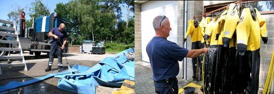 ?? FOTO JAN VAN DER PERRE ?? De medewerkers van de Civiele Bescherming van Brasschaat zijn weer thuis. Nu moet het materiaal weer proper worden gemaakt.
