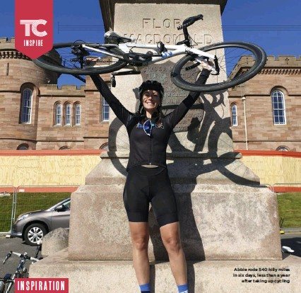 ??  ?? Abbie rode 540 hilly miles in six days, less than a year after taking up cycling