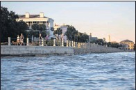 ?? THE ASSOCIATED PRESS ?? High tide laps against The Battery promenade in Charleston, S.C., where officials are mulling a $ 1.75 billion proposal by the Army Corps of Engineers to build a seawall along the city's peninsula to protect it fromstorm surge during hurricanes.