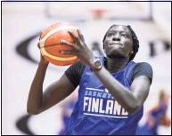 ?? Markku Ulander / Associated Press ?? Awak Kuier of Finland is pictured during a training session in Helsinki. Kuier was picked second overall by the Dallas Wings in Thursday's WNBA draft.