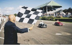 ?? PHOTO BY DOMINIC JAMES ?? Sir Stirling Moss waves the chequered flag at the Settrington Cup in 2016