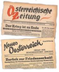 ??  ?? Die Schlagzeilen zum Kriegsende am 8. und 9. Mai in den ersten wieder erscheinenden Tageszeitungen in Österreich.