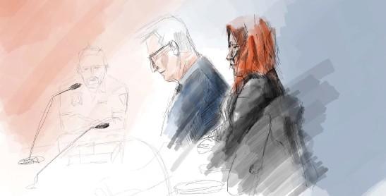 ?? Bild: Johan Hallnäs ?? Illustration från förhandlingen mot mamman som står åtalad för mord på sin treåriga dotter.