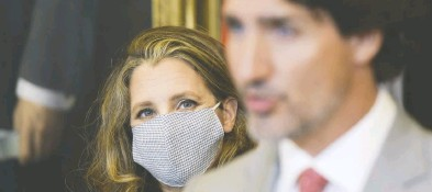?? JAMES PARK / BLOOMBERG FILES ?? Eyebrows were raised when Finance Minister Chrystia Freeland tabled her fiscal update on Nov. 30, where she promised up to $100 billion in stimulus spending over three years while declining to detail where a single cent would go.
