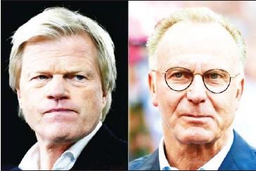 ?? AFP ?? Oliver Kahn (left), board member of Bayern Munich, and Bayern Munich CEO Karl-Heinz Rummenigge.