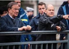 ??      MARIUS BECKER / DPA / AP / NTB ?? ikkert om han kan flytte inn på Merkels kontor CDU-leder Armin Laschet (til venstre) var favoritt til å bli Tysklands neste statsminister, men den siste tiden har koalisjonspartner SPD vokst seg like store som storebror CDU, og SPD-leder og finansminister Olaf Scholz (til høyre) er langt mer populær på statsministermålinger.