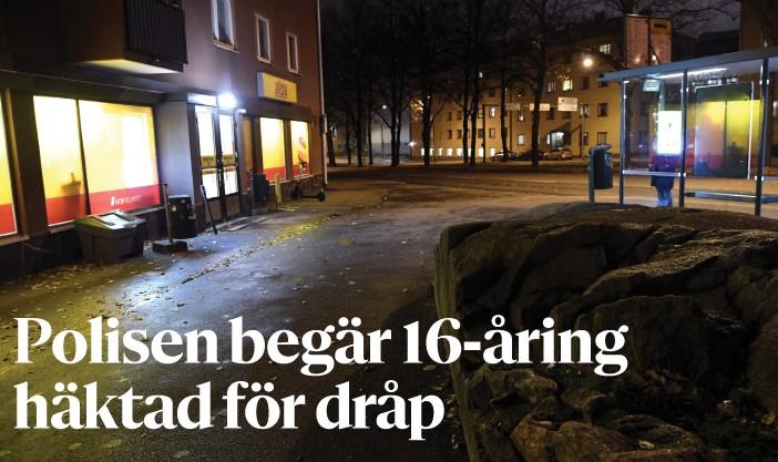?? FOTO: MARKKU ULANDER/LEHTIKUVA ?? Helsingforspolisen meddelar att den begär att den 16-åring som misstänks för dråp i Vallgård i Helsingfors häktas. ■