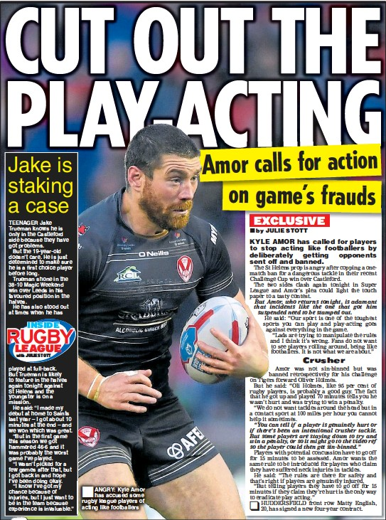 Angry Kyle Amor Has Accused Some Rugby League Players Of Acting Like Footballers