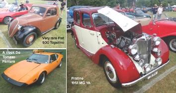 ??  ?? Very rare Fiat 500 Topolino A sleek De Tomaso Pantera Pristine 1951 MG YA