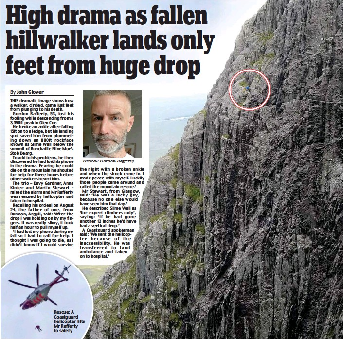 ??  ?? Ordeal: Gordon Rafferty Rescue: A Coastguard helicopter lifts Mr Rafferty to safety
