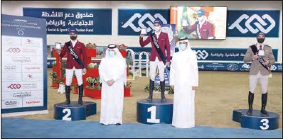 ??  ?? Hamad bin Abdulrahman Al Attiyah, President of Qatar and Asian Equestrian Federations, and Ahmed Salem Al Ali, Program Manager, after awarding the Big Tour podium finishers of the third round of Season 4 of the Longines Qatar Equestrian Tour Hathab supported by The Social & Sport Contribution Fund at QEF's indoor arena on Saturday.