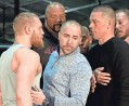 ??  ?? Conor McGregor, left, and Nate Diaz, right, had to be separated after their news conference Wednesday devolved into a shouting match.KEVORK DJANSEZIAN, GETTY IMAGES
