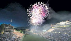 ?? File photo ?? Fireworks soar into the air during the 2014 Ralphie's Independence Day Blast at Folsom Field on the University of Colorado Boulder campus. Organizers confirmed the spectacle has been canceled amid COVID-19 concerns for the second consecutive year, but that it is expected to return in 2022.
