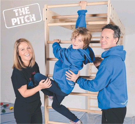 ??  ?? Sally Johnson, son Digby, 7, and brother Marcus at We Rock the Spectrum Kids Gym in Preston. Picture: LAWRENCE PINDER