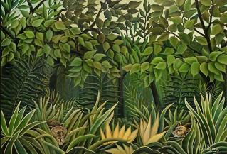 ??  ?? Onirique Deux lions à l'affût dans la jungle, par le Douanier Rousseau, huile sur toile (1909-1910).