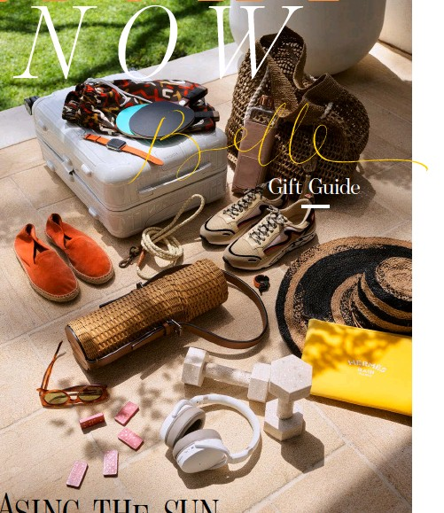 ??  ?? This page, clockwise from top left Essential Cabin carry-on suitcase in White Gloss, $1020, from Rimowa. 'Congo' print brown swim shorts, $225, P.Johnson. Series 6 Apple watch with orange band, $1899, from Hermès. Leather and walnut table-tennis paddles, $1250/set from Tiffany & Co. 'Bavata' raffia bag, $160, from Tanora. Memobottle 'Slim' 450ml water bottle, $49.90, with leather sleeve, $79.90, and copper lid, $11.90, from Top3 by Design. 'Flame' trainers in Beige, $415, from Sandro Paris. Knog 'Oi' bike bell, $29.90, from Top3 by Design. Sans-Arcidet raffia hat, $225, from Eighteen Ten. 'Neobain' yachting pouch case, POA, from Hermès. Ryan Hanrahan for Addition Studio travertine dumbbells, $109.90 each, from Top3 by Design. Sennheiser 'HD 450BT' noise-cancelling headphones, $299, from JB Hi-Fi. Printworks 'Play Games' dominoes, $24.90, from Top3 by Design. A.S.O sunglasses in Havana Brown, $495, P.Johnson. Ralph Lauren 'Bailey' wicker wine tote, $799, from Palmer & Penn. Suede espadrille­s in Pomelo, $195, from P.Johnson. Georgie Paws 'Windsor' dog lead, $68, from Top3 by Design.