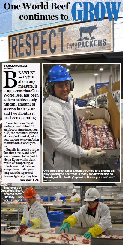 ?? PHOTO ?? Employees at One World Beef process meat Tuesday. JULIO MORALES PHOTO One World Beef Chief Executive Office Eric Brandt displays packaged beef that is ready for distribution on Tuesday at the facility's plant in Brawley. JULIO MORALES