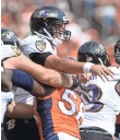 ?? RON CHENOY, USA TODAY SPORTS ?? The Broncos' Von Miller (58) pressures the Ravens' Joe Flacco.