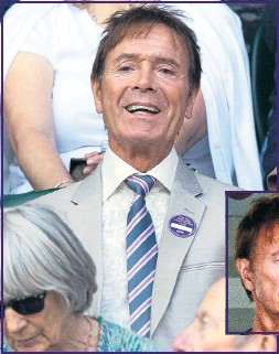 ??  ?? Sir Cliff yesterday and, inset, looking weary from 'vile allegations'