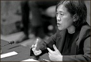 ?? Sarah Silbiger/Pool via AP, File ?? In this April 28 file photo, U.S. Trade Representative Katherine Tai testifies during a Senate Appropriations subcommittee on Commerce, Justice, Science, and Related Agencies hearing on Capitol Hill in Washington. The Biden administration is throwing its support behind efforts to waive intellectual property protections for COVID-19 vaccines in an effort to speed the end of the pandemic. Tai announced the government's position in May 5 statement, amid World Trade Organization talks over easing global trade rules to enable more countries to produce more of the life-saving vaccines.