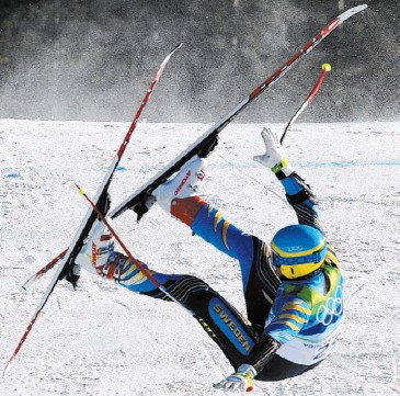??  ?? SORE LANDING: Swedish veteran Patrik Jaerbyn, 40, crashed after clipping a gate in last night's Super-G race. Details of his injuries were not immediately known. Picture: Reuters
