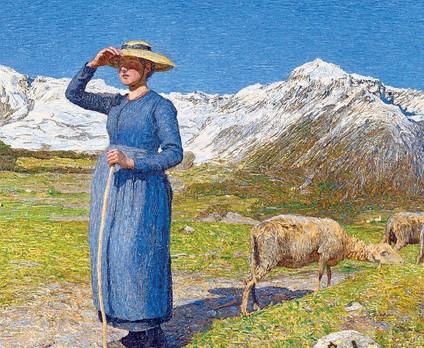 ??  ?? Montagne e paesaggio «Mezzogiorno sulle Alpi» (1981) uno dei più noti quadri dipinti da Segantini, artista di Arco