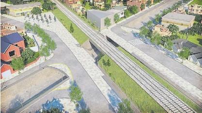 ??  ?? Objetivo. Así es el proyecto, con tres puentes: uno para el tren y otros dos para las calles paralelas a las vías.