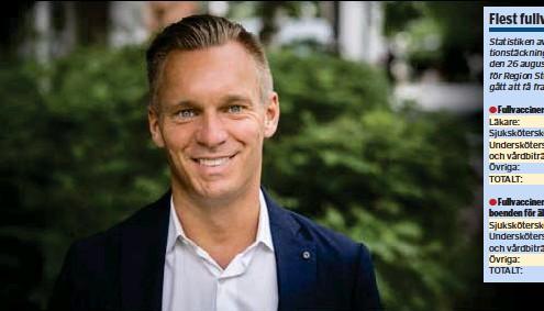 ??  ?? OMSORG. Var fjärde anställd inom äldreomsorgen har ännu inte fått en första dos vaccin. Inte acceptabelt anser Erik Slottner (KD) äldreborgarråd i Stockholm.