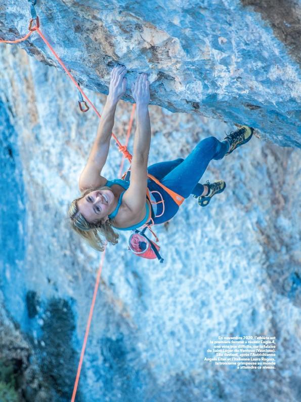 ??  ?? En novembre 2020, l'athlète est la première femme à réussir Eagle-4, une voie très difficile, sur la falaise de Saint-Léger-du-Ventoux (Vaucluse). Elle devient, après l'Autrichienne Angela Eiter et l'Italienne Laura Rogora, la troisième grimpeuse au monde à atteindre ce niveau.