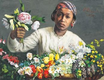 "??  ?? LEFT: Mickalene Thomas, ""Din, une très belle négresse,"" 2012. CLOCKWISE FROM TOP: Frédéric Bazille, ""Young Woman With Peonies,"" 1870; Edouard Manet, ""La negresse (Portrait of Laure),"" 1863; Mickalene Thomas, ""Qusuquzah Lounging With Pink + Black Flower,"" 2016; Henri Matisse, ""Dame à la robe blanche,"" 1946."