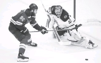 ?? SCOTT KANE/ASSOCIATED PRESS ?? Bruins goalie Tuukka Rask, here thwarting the Blues' Ryan O'Reilly, finished with 28 saves in Game 6.